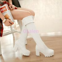 Women High Chunky Heel Platform Over the Knee Boots Thigh Warm Shoes Plus SZ Hot