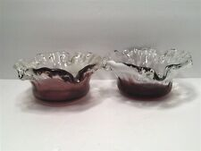 Beautiful Hand Blown Purple Clear And White Glass Candle Holder. Set Of 2
