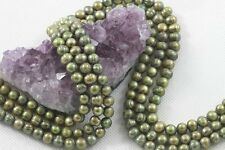 "15.5"" Cultured Fresh Water Pearl Beads Potato Nugget 6-7mm GREEN *FREE SHIPPING"