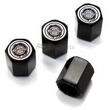 (4) Chrysler Silver Logo Black Tire/Wheel Air Pressure Stem Valve CAPS Covers