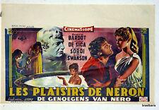 AFFICHE ancienne de CINEMA BELGE : LES PLAISIRS DE NERON 1956 BRIGITTE BARDOT
