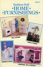 Home Furnishings ~ fits Barbie dolls, Annie's plastic canvas pattern booklet
