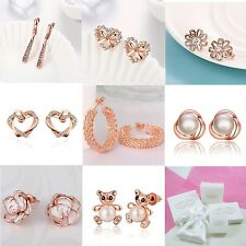 E16 Various Designs Rose Gold Plated Stud Earrings