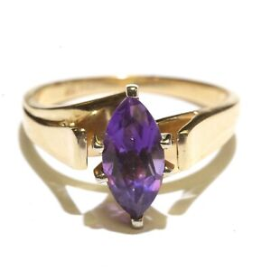 14k yellow gold marquise amethyst solitaire gemstone ring 3.2g womens 6