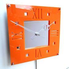 Roco Verre Déco Vintage Moderne Pendule Horloge Murale Orange Brillant
