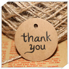 100Pcs Thank You Wedding Brown Kraft Paper Tag Bonbonniere Favor Gift Tag Decor