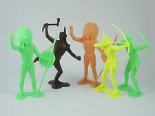 """5x marx, plastimarx & unbranded large 6"""" toy soldiers-native american indians"""