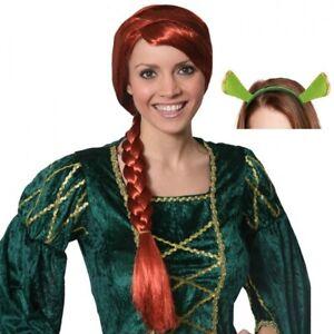 Princess Ogre Fiona Red Plait Wig with Shrek Ears Fancy Dress