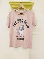 Bershka Size Medium Pink T-shirt Pug Motif