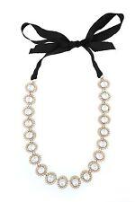 Lee Angel  gold crystal flower pearl necklace NIP $125