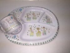 Precious Moments 1987 Toddler Plate And Cup Set Euc