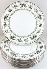 SET 4 DINNER PLATES ROYAL DOULTON CHINA VALLEY GREEN H5015 GREEN FLOWERS SILVER