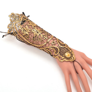 2021 Medieval golden lace gloves vintage gothic queen cosplay accessories