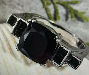 Natural Thai Black Spinel Geometric Size 10 ring In stainless steel