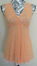 SWEET PEA orange w/ pink trim sleeveless pullover nylon v-neck blouse, Size S