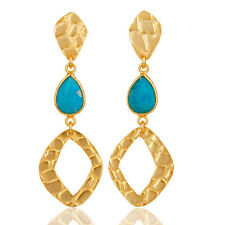 18K Gold Plated Silver Turquoise Dangle Fashion Earring Daisy Jewelry