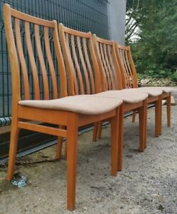 Set of Four (4) Vintage High Back Wide Seat Beech Wood Dining Chairs