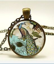 Peacock Necklace, Victorian Style Peacock Jewelry Glass Art Pendant