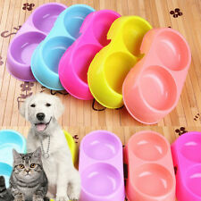 Useful Cute Pets Dog Puppy Cat Food Water Feeding Double Twin Plastic Bowl 1PC