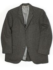 VTG 1960s Mens Tweed Sport Coat 39R 40R Green Gray Blue Houndstooth Check Jacket