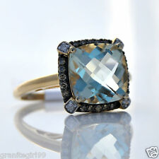 3.70ct Green Amethyst (Praseolite) & Champagne Diamond Halo Ring 14k Gold Sz 7