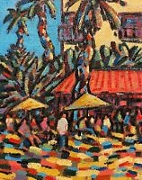 """Abstract Landscape Painting. """"Beach Cafe"""""""