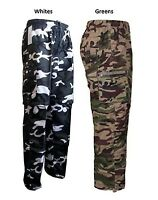 Mens Combat CAMO Zip Off  Summer Trousers Cargo work Pant Trouser S-3XL