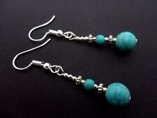A PAIR TIBETAN SILVER TURQUOISE  BEAD  DANGLY EARRINGS. NEW.