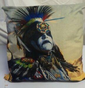 BNWOT Cream flax like colourful Native American Indian print cushion cover & pad