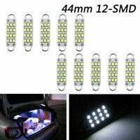 "10xSuper White Festoon 44mm 12-SMD Rigid Loop 1.73"" LED Light Bulbs 561/562 567"