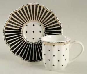 Grace's Teaware Josephine Black Espresso Cup and Saucer Set 10800749