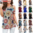 Womens Floral Cold Shoulder T-shirt Short Sleeve Summer Blouse Casual Tunic Tops
