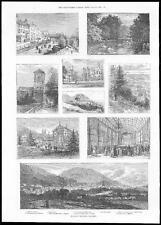 1885 vista de Malvern, Somerset Belle View terraza Asamblea habitaciones Cisne piscina (001)