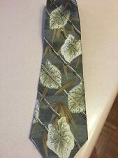 Green Multi Color Men's Tie With Leaves