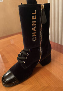 Auth NWB Chanel Lace-Up Boots Black Suede & Patent Leather Gold CC Logo Sz 39.5