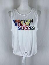 Energie Womens Tank Top Jersey Ambition Builds Success Tie Waist White Size L