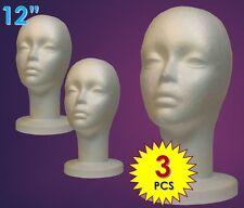 "WIG FEMALE STYROFOAM HEAD FOAM MANNEQUIN DISPLAY 12"" (3PCS)"