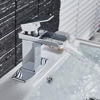 Polish Chrome Brass Bathroom Basin Sink Faucet Mixer Tap Waterfall Spout Faucet