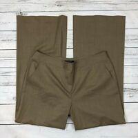 Lafayette 148 Delancey Dress Pants Size 12 Womens Brown Wide Leg Virgin Wool
