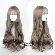 Harajuku 70CM Women Mixed Brown Curly Cosplay Heat Resistant Long Party Wig