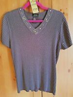 RQT Womens Size XL Gray Metal Embellished Neckline Ribbed Sweater