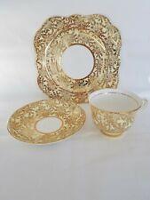 Colclough Bone China England Pale Yellow and Gold 3 Piece Set