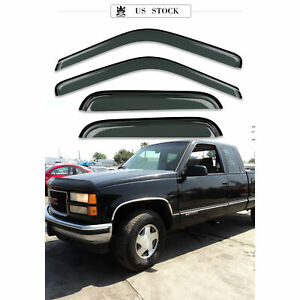 Window Visor Rain Guards Dark Smoke 4Pc for 88-99 Chevrolet C/K1500 Extended Cab