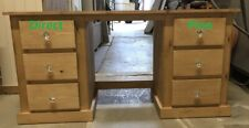 AYLESBURY PINE 6 DRAWER DOUBLE DRESSING TABLE ANTIQUE WAX WITH CHRYSTAL HANDLES