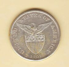 US Philippines 1907-S One Peso Silver Crown, Almost Uncirculated/UNC Good luster