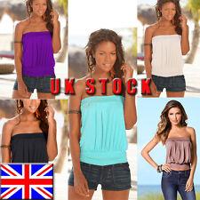 UK Womens Strapless T-shirt Bandeau Plain Boob Tube Top Tank Ladies Blouse Vest