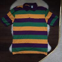 Men's L 1990s-style Green Gold Purole Striped Mardi Gras Short Sleeve Polo Shirt