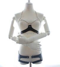 Women PU Leather Chain Halter Body Harness Open Bust Bikinis Bra Set Adjustable