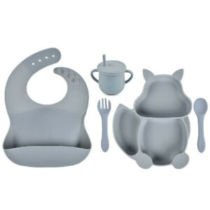 Baby Weaning Silicone Squirrel Suction Bowls Plates Spoon Fork Bib Sippy Cup Set