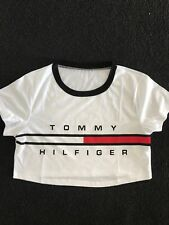 Women's Rep Tommy Hilfiger Look White Print Cropped Tee Size Small